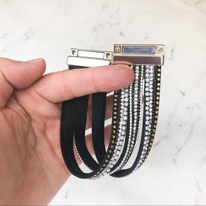 Jewelry - BOGO SALE Black Leather & Rhinestones Bracelet